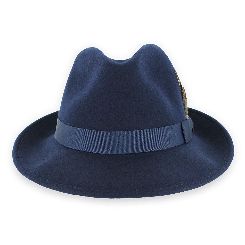 0212985ba68 Belfry Crushable Dress Fedora Men's Vintage Style Hat 100% Pure Wool in  Black Blue Grey