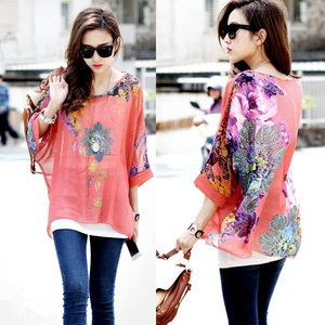 Women Chiffon Batwing Sleeve Floral Casual Loose simple blouses SV018197