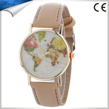 China Cheaper 2017 High Quality Brand Vintage Leather Strap Women Watch World Map Watch Unisex Quartz Ladies watches LW063