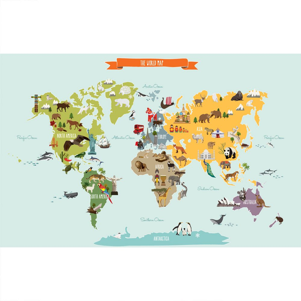 "Childrens World Map Poster Wall Sticker Illustrated World Map (Medium - 52.5"" w x 34"" h) - by Simple Shapes"