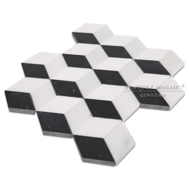 Polished Black And White Cube 3d Bathroom Wall Marble