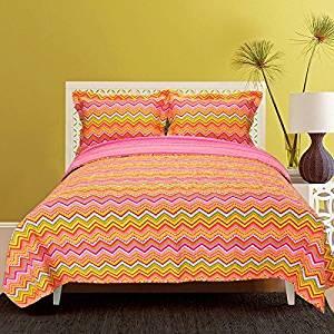 3 Piece Rainbow Zig Zag Twin Quilt Set, Orange Purple Green Yellow Pink, Vibrant Colors Chevron Geometric Zigzag Pattern Reversible Bedding For Girls Summer Colorful Themed Pretty Cute Beautiful