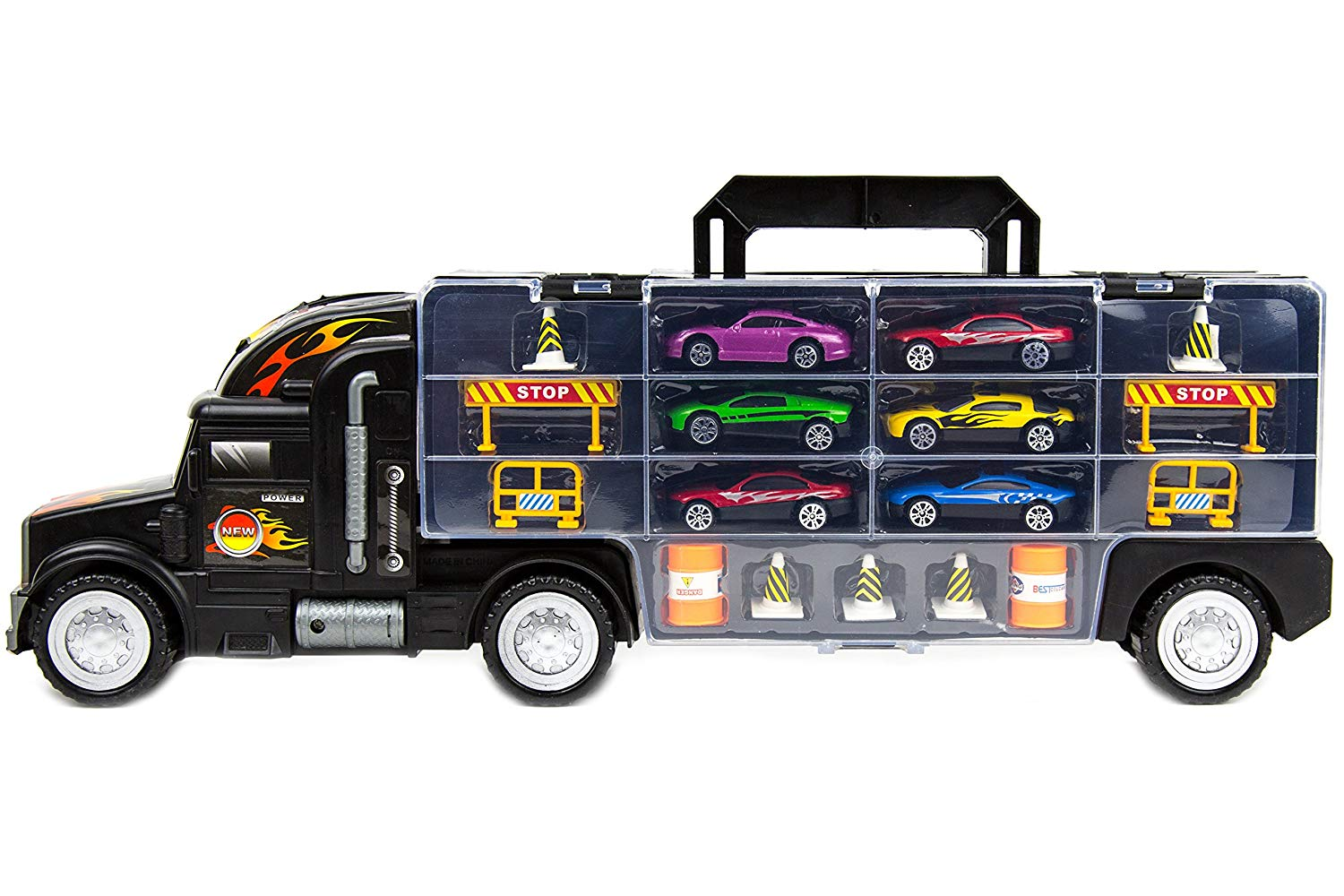"""Toysery Transport Car Carrier Truck Toy for Kids with 6 Alloy Cars and 28 Slots - Long Truck Toy for Boys, Girls & Children - 20"""" Long"""