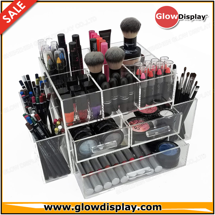 DELUXE MAKEUP ORGANIZER - ACRYLIC TIERED 3 DRAWER COSMETIC DISPLAY CASE