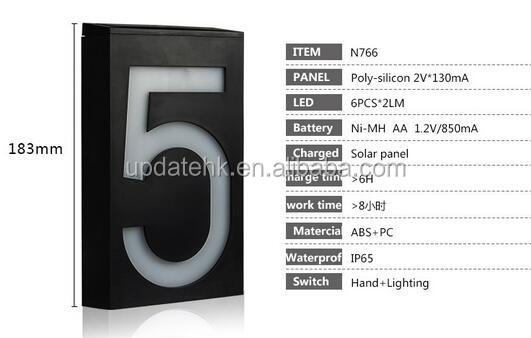 Newest Solar Powered 6 Led Front Door Number Lights Number Plate ...