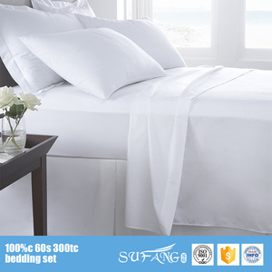 300tc plain white 100% cotton single sateen bed sheets/wholesale hotel fitted bedsheet/dubait bed sheet set
