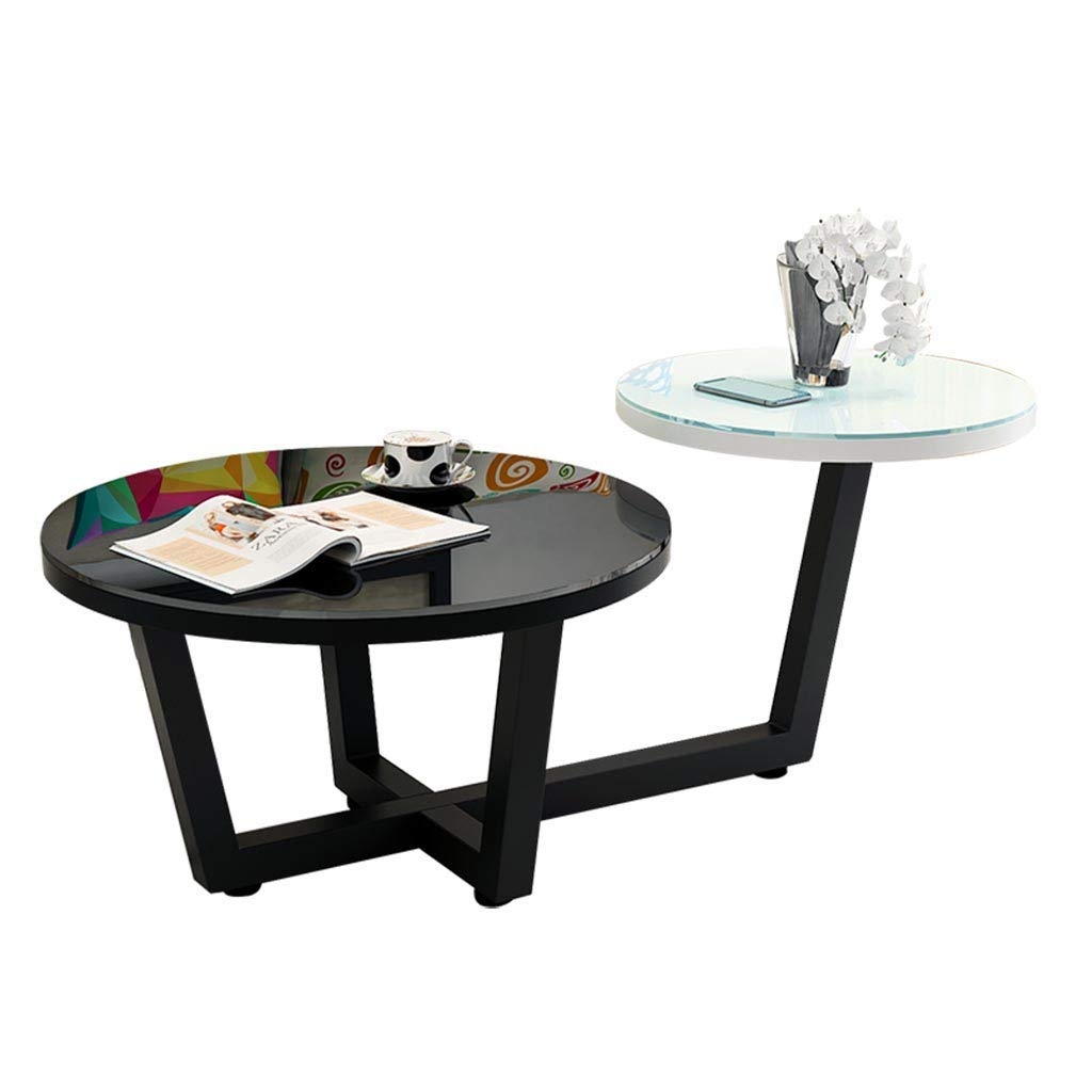 Coffee Tables Nordic Round Living Room Mini Table Kitchen Glass Dining Table Balcony Simple Tea Table Living Room Shelf Round Flower Stand (Color : Black, Size : 110cm50cm)