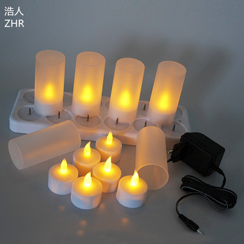 ABS Rechargeable candle lights LED candle lamps yellow flameless tea lights
