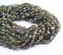 12 Inches - 9.5mm Blue Fire Natural Translucent Labradorite Smooth Polished Puff Oval Beads