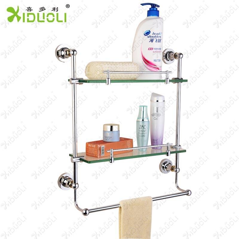 estante de cristal con la barra de toalla toallero vidrio estante de la esquina bao