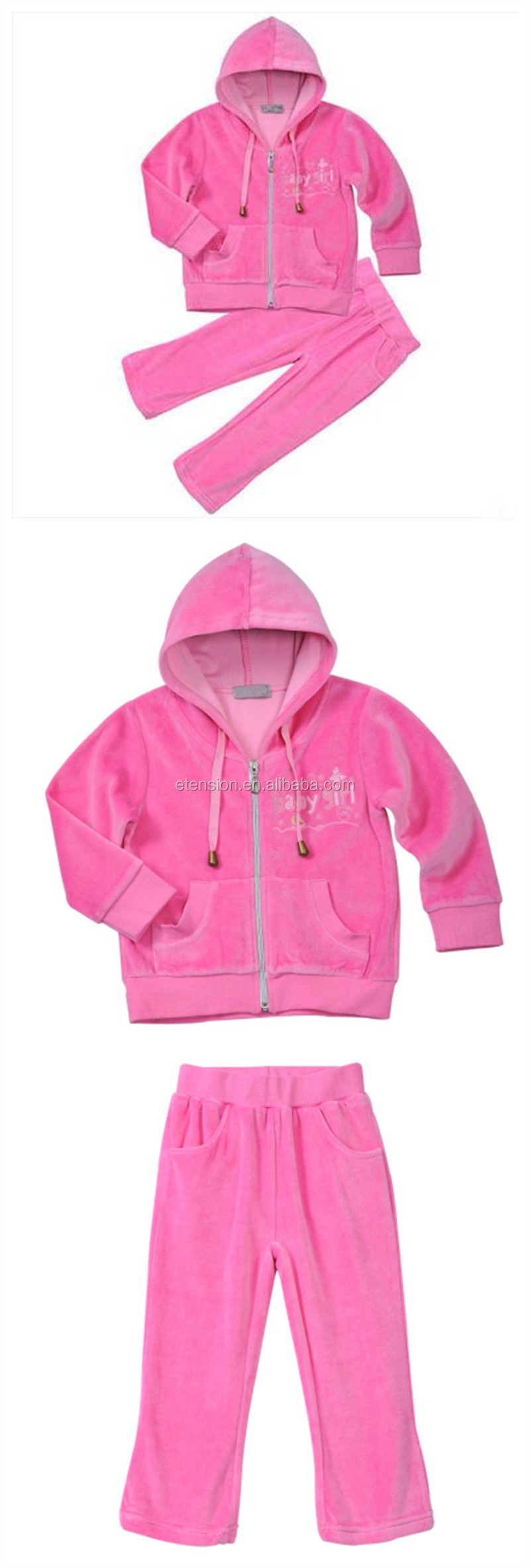 Kids Pink Embroidery Lovely Girls Sport Hood Coat Suit