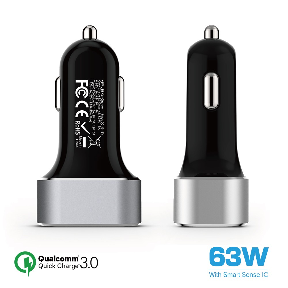 45W Type C Power Delivery Plus 18W Quick Charge 3.0 dual usb PD QC3.0 car charger