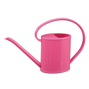 Rose red plastic garden watering can