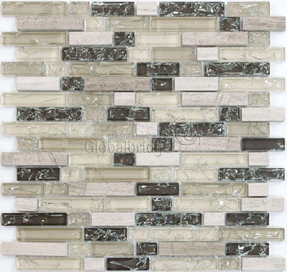 New arrival crystal and stone mix mosaic tiles 3d wall panel