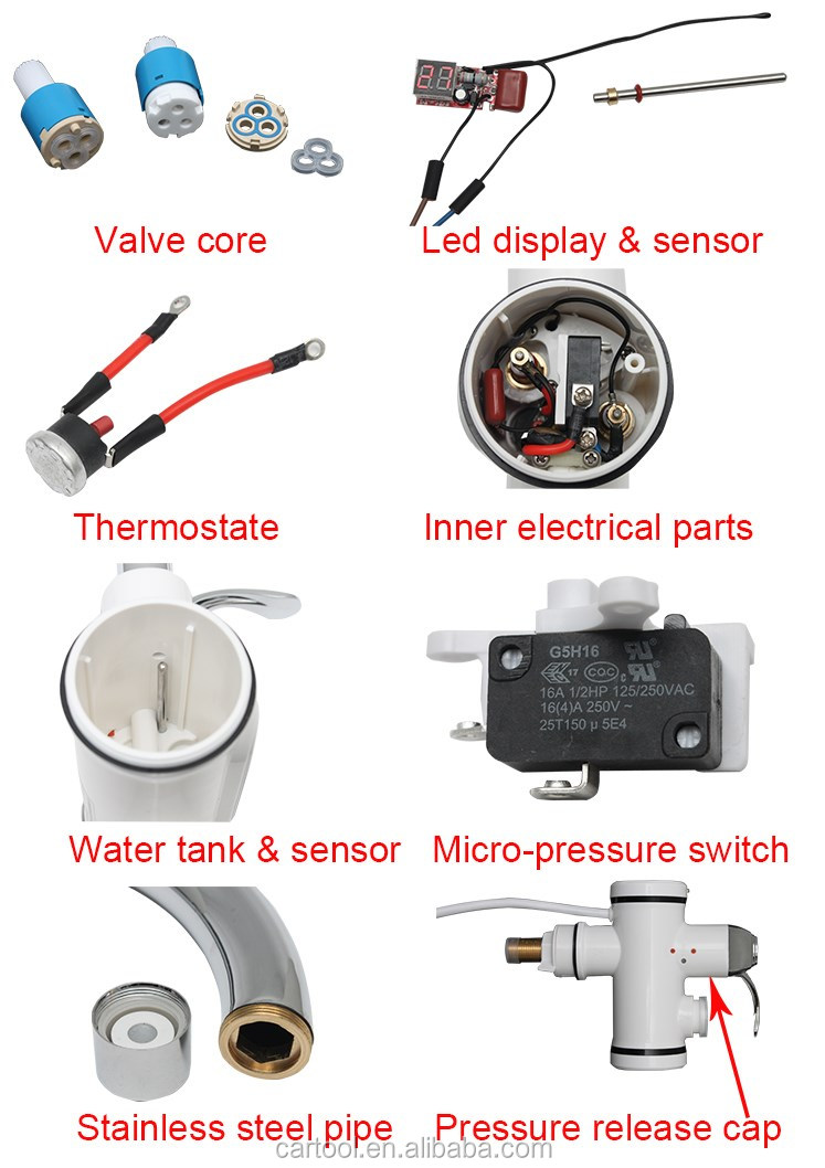 Digital Tankless Instant Heating Tap Electric Hot Water Heater Faucet
