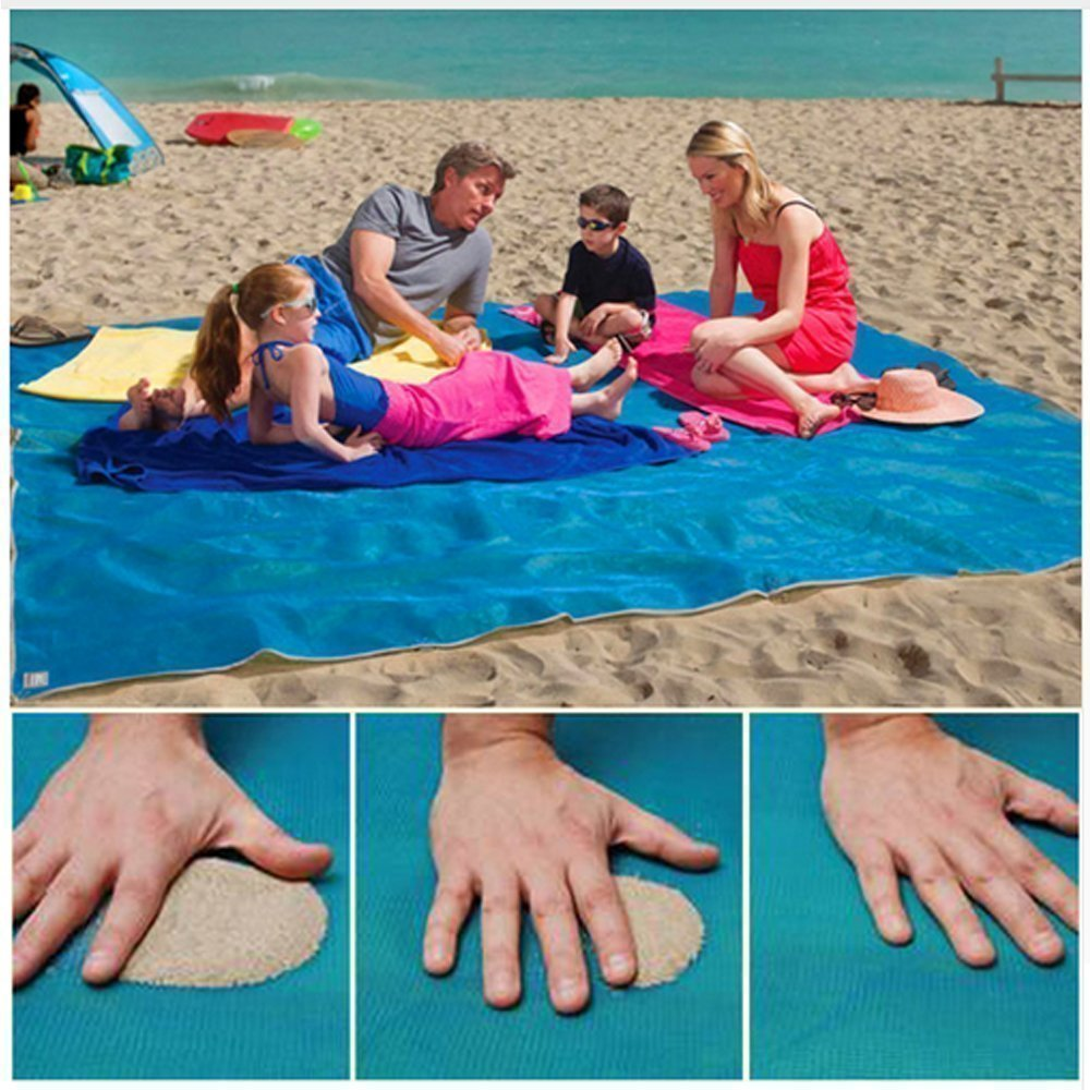 HEHUI Sand Free Beach Mat, Sand Proof Mat is Easy to Clean and Dust Prevention, Perfect for the Outdoor Events with Your Family,Fashion Shoulder bag and Durable Plastic Anchors Included