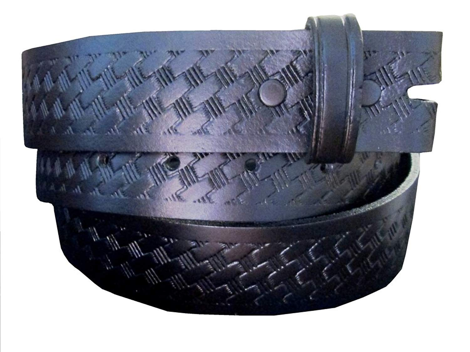 Belt for Buckles 100% Top Grain One Piece Leather Basket Weave Belt, Made in USA