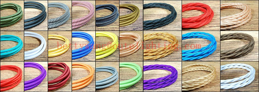 Decorative Lighting Fabric Cable Cotton Textile Braided Electrical Wire Cableelectrical