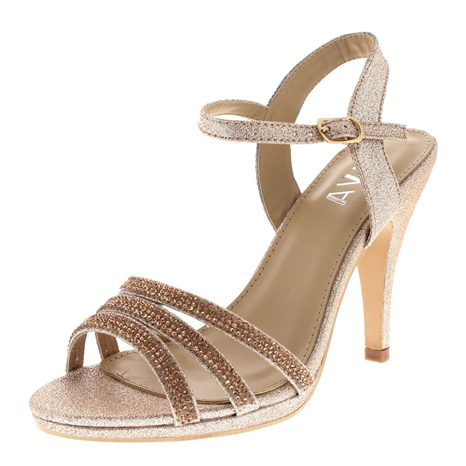 Viva Womens Diamante Mid Heel Ankle Strap Wedding Party Evening Party Sandals Shoes