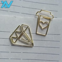 Hight Quality Fancy custom logo metal diamond shape paper clip gold