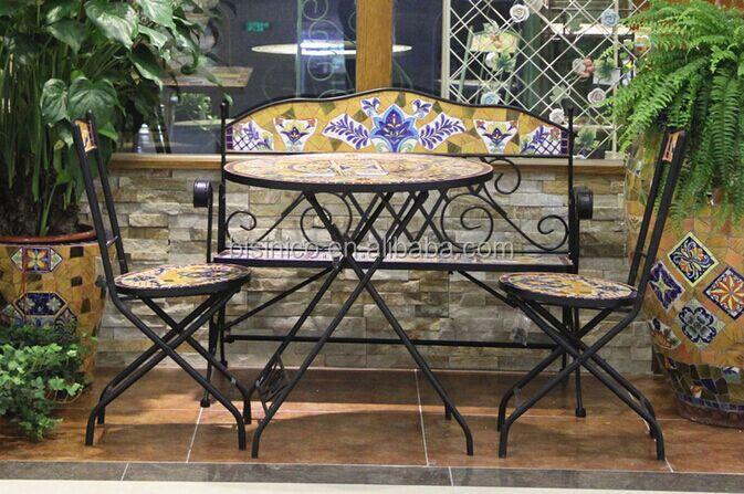 Tavoli In Metallo Da Esterno.Ferro Battuto E Da Giardino In Ceramica Mosaico Tavolo E Sedie