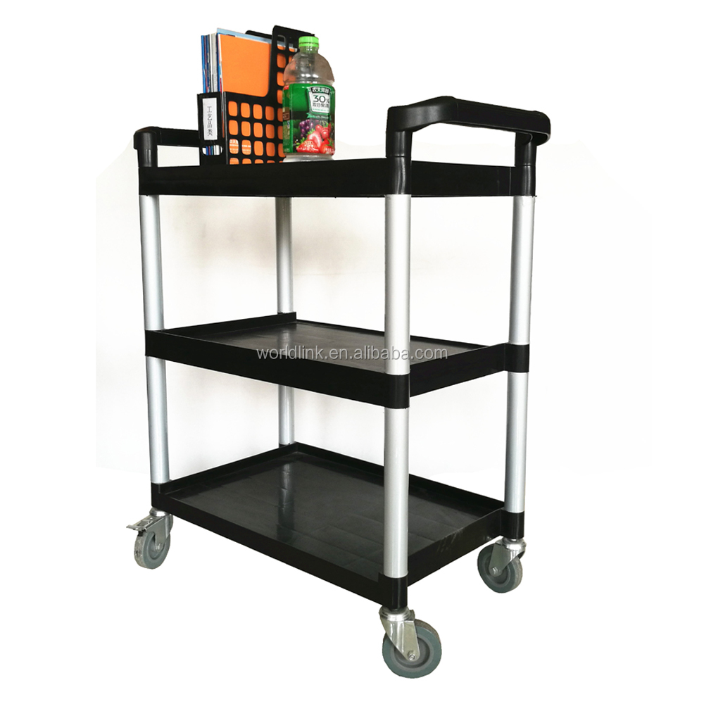 Hotel Plastic Cleaning 3 Shelf Service Trolley Hand Trolley Cart