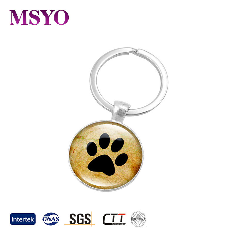 MSYO brand hot sale small dog footprint crystal custom keychain