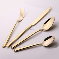 Titanium spork and cutlery 24pcs set with leather case Titanium gold