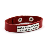 Custom Inspired Stamped Words Metal Tag Pink Adjustable Snap Button Leather Bracelet