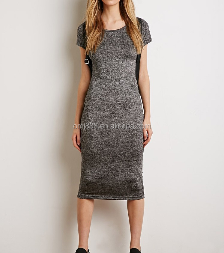 Custom blank grey fitted long bandage dress T-Shirt Dress oem dress