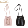 China factory hot selling mini women bucket bag ladies sheep suede leather bag handbags shoulder bag with tassels