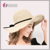 Big brim Embroidered Adjustable Beach Floppy women's foldable paper straw Hat
