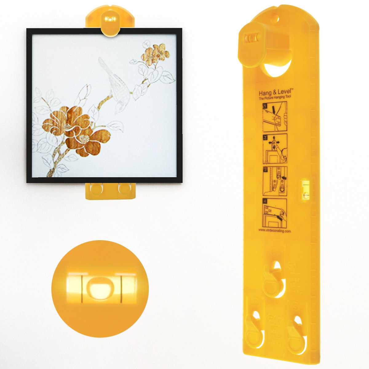 Picture Hanging Tool, WeGuard Vertical and Horizontal Levels Suspension Measurement Marking Position Tool, Frame Hanger Tool For All Wall Materials - Yellow