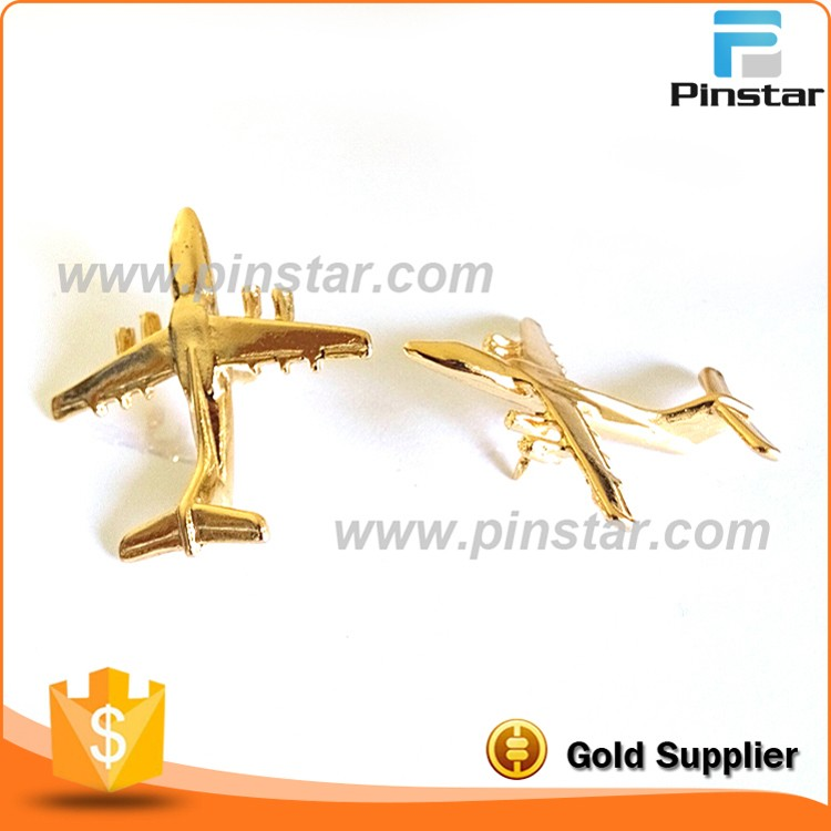 Custom gold plated zinc alloy metal airbus badge