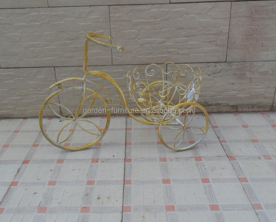 Antique Art Wrought Iron Handicrafts Iron Cart Pot Holder Home Patio