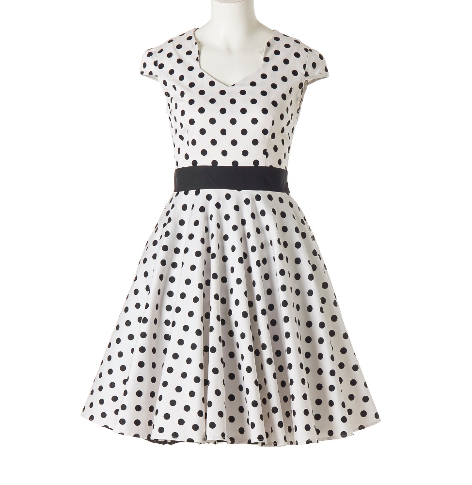 Club Roupas Feminina <strong>Vintage</strong> Uk 50's <strong>Inspired</strong> Black White Polka Dot Circle Ladies <strong>Dress</strong>