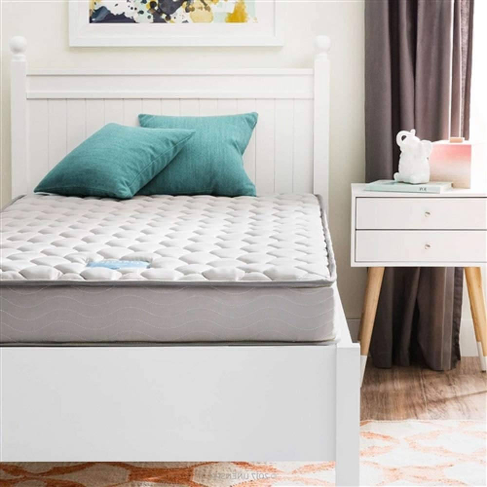 MyEasyShopping Full XL 6-inch Thick Innerspring Mattress - Medium FirmBed Frame Antique French Wood