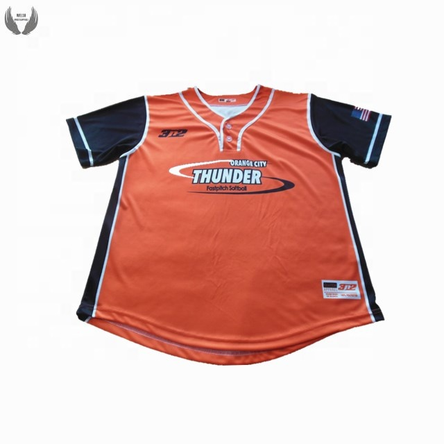Custom logo oranje baseball uniform fabrikant