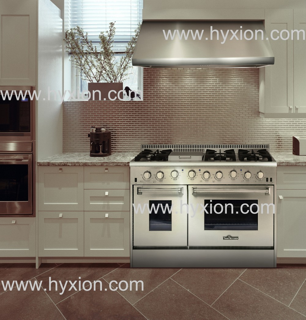 Hyxion 48 inch 6 burner gas stove stainless steel gas range