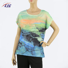 Mesh and Burn-out Fabric in 3D Effect Latest Digital Print T-shirt