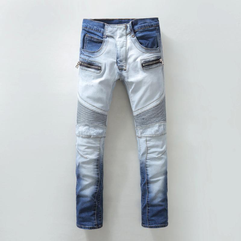 6344baf7 2019 Wholesale 2016 Mens Blue Skinny Biker Jeans Famous Brands Denim ...