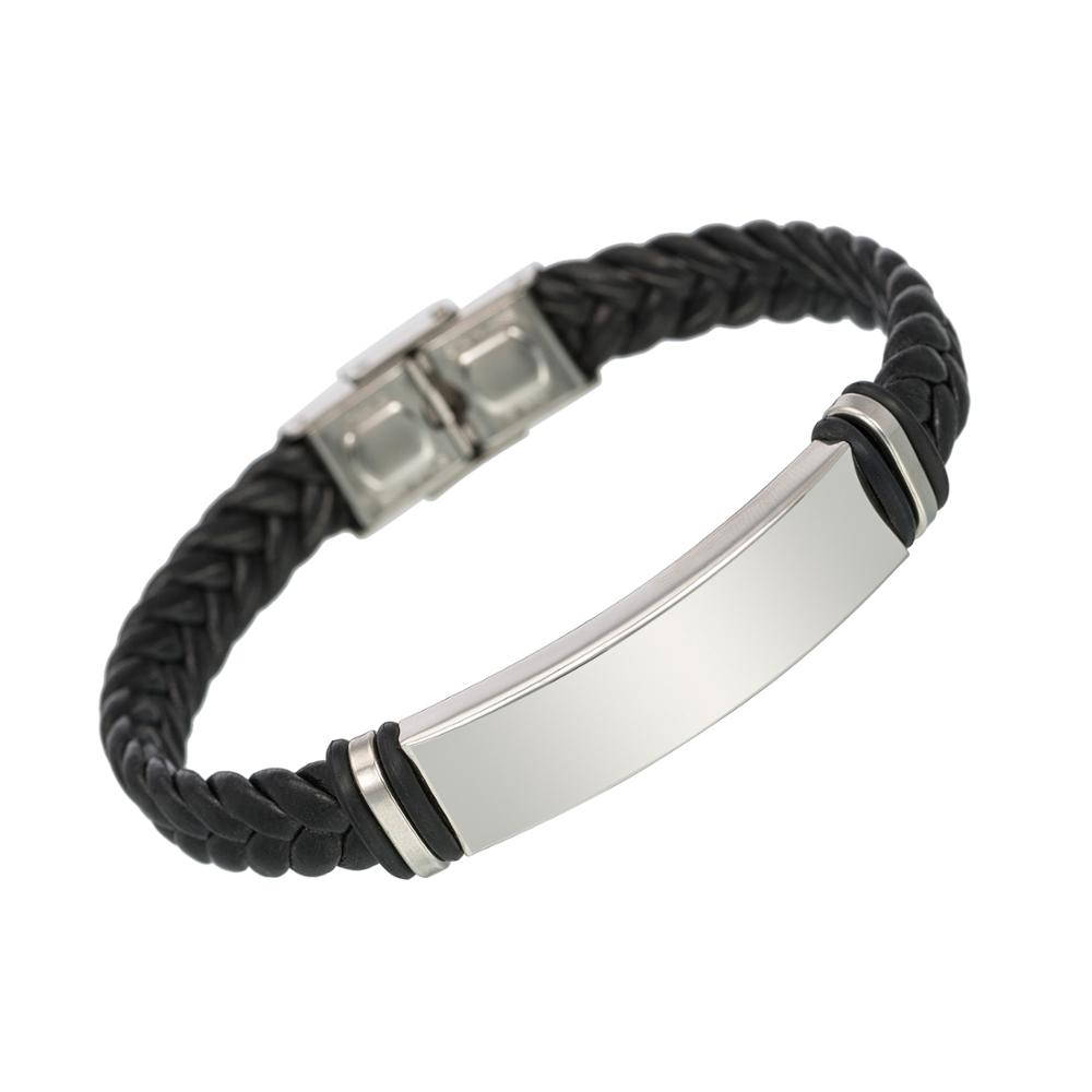 한 수 제 Leather 커 프 Bracelet Wholesale Price Personal 새겨진 Stainless Steel Bracelet Men Jewelry