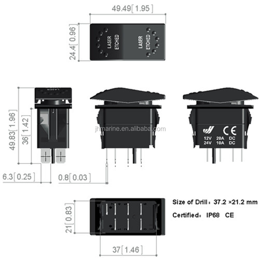 Marine Dual Rocker Switch 12v Led Boat 4 Pin Wiring Diagram On Off Pins For