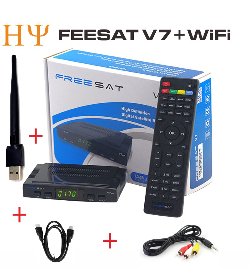 Genuine Freesat V7 mini dvb s2 satellite tv receiver support powervu bisskey cccam usb wifi Freesat V7 HD