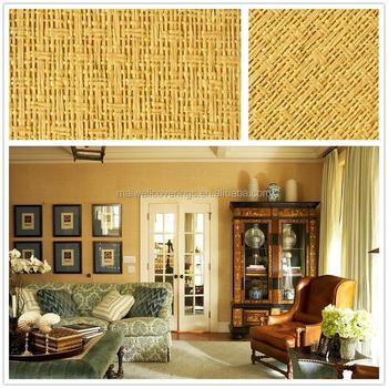 Beautiful Natural Texture Yellow Grasscloth Wallpaper Luxury Hotel