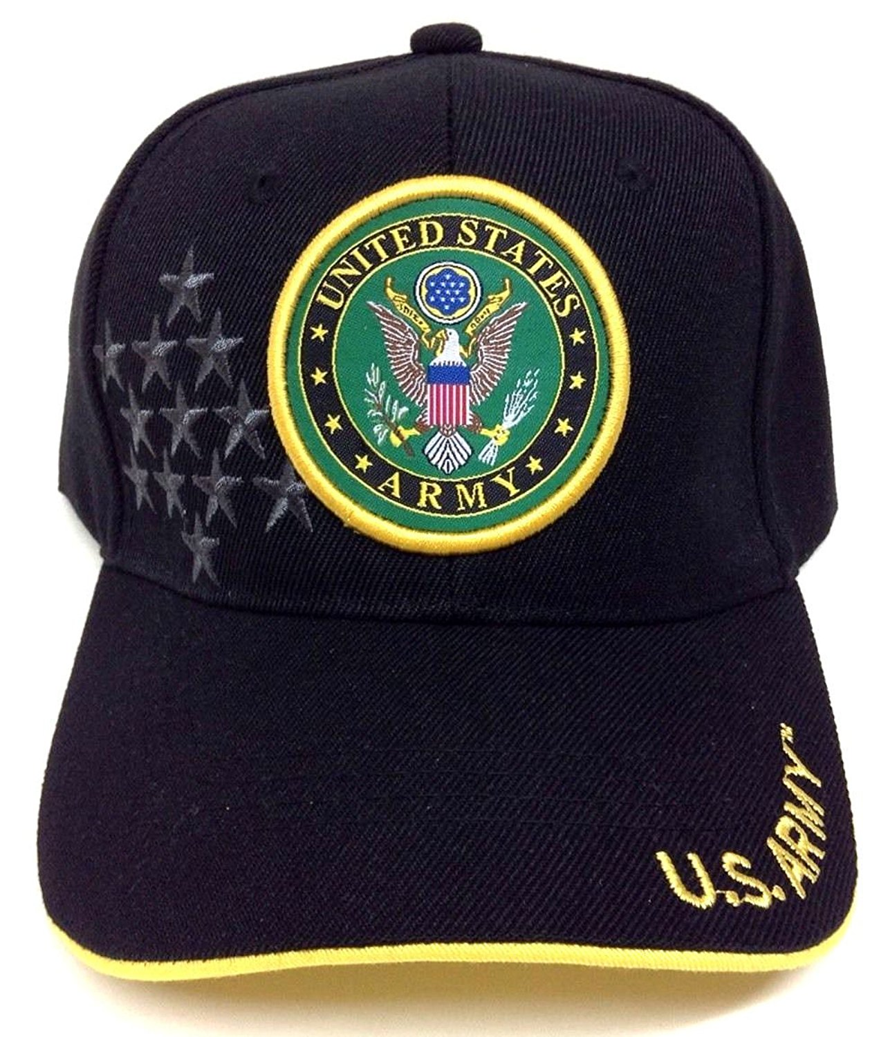 7775f3522f8 Get Quotations · Black United States Army Seal Logo Adjustable Hat