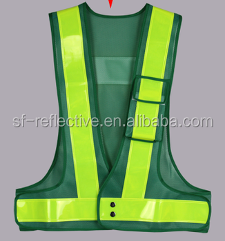 Hi Vis Construction Clothing Safety Vest Mesh Net Fabric With Bright Light 3m