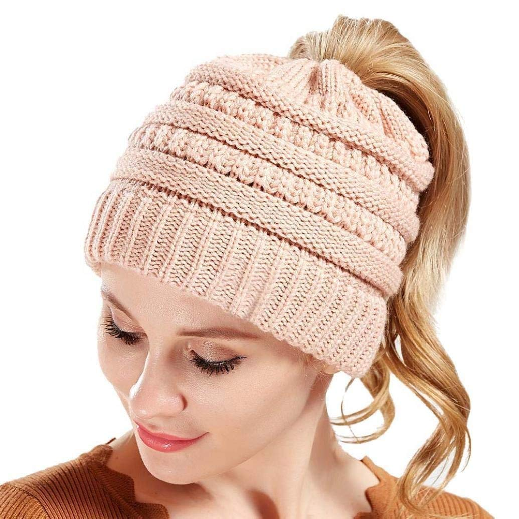 SUKEQ Knit Beanie, Thick Soft Warm Winter Crochet Hat, Messy Bun Tail Ribbed Hat, Slouchy Baggy Ski Skull Caps for Women Men (Pink)