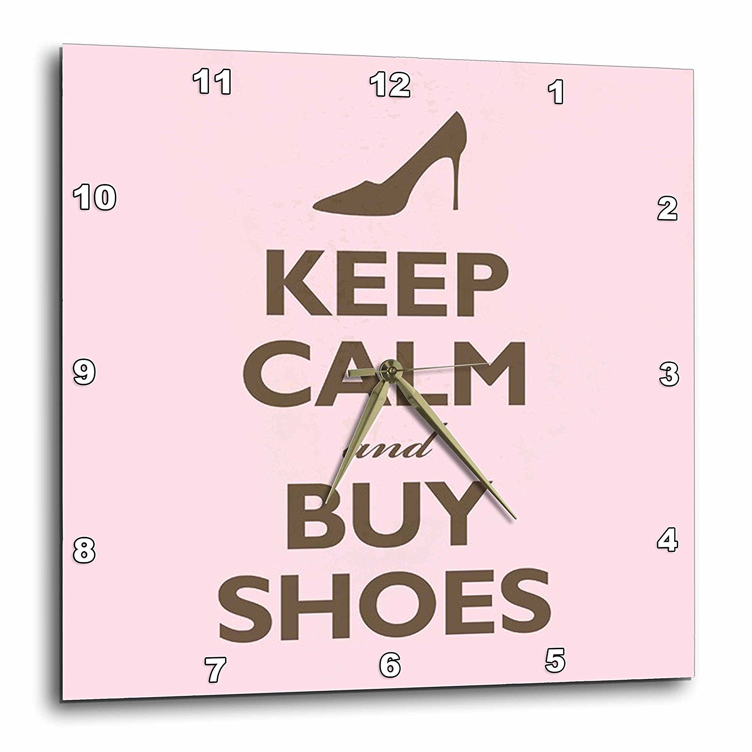 3dRose dpp_159571_1 Keep Calm and Buy Shoes. Pink. Shopping. High Heels-Wall Clock, 10 by 10-Inch