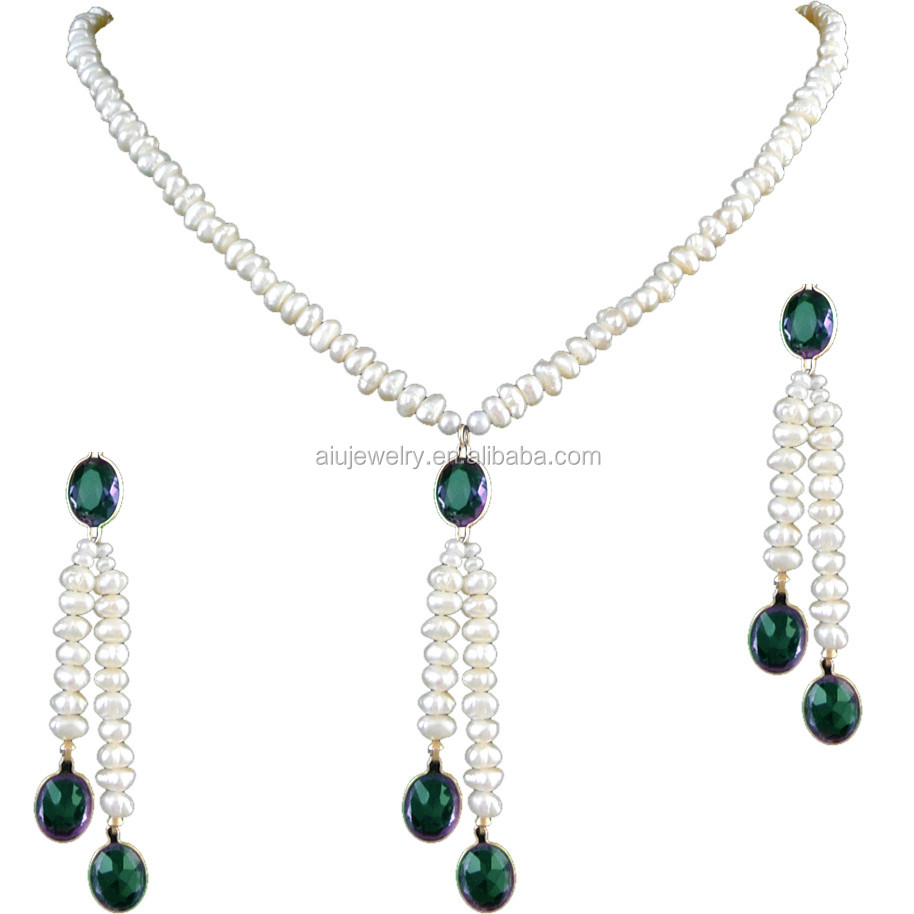 Natural heavy pearl necklace set with CZ stone